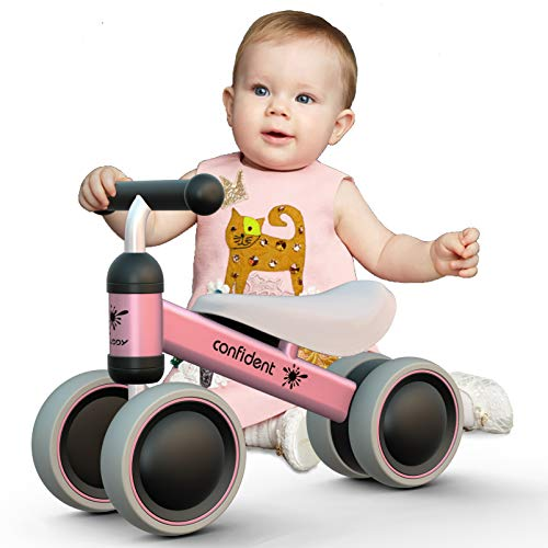 Luddy Baby Bike Balance Bicycle Toddler Walker for 1 Year Old Kids First Birthday Gift 24 Months Children Toy (Pink)