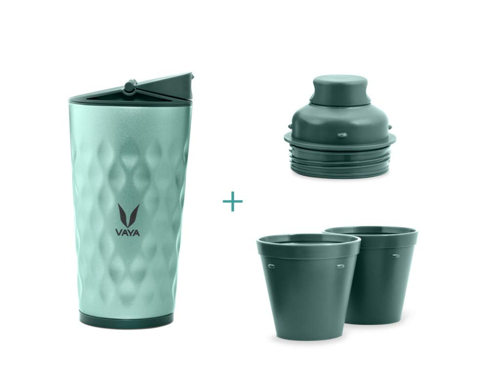 Vaya Drynk 3-in-1 Water Bottle/Flask (Drynk+Sipper+Gulper) 12 oz with 2 Cups, Green color - BPA Free, Eco-Friendly Healthy Vacuum Insulated Tumbler for School, Office, Travel, Gym & Sports