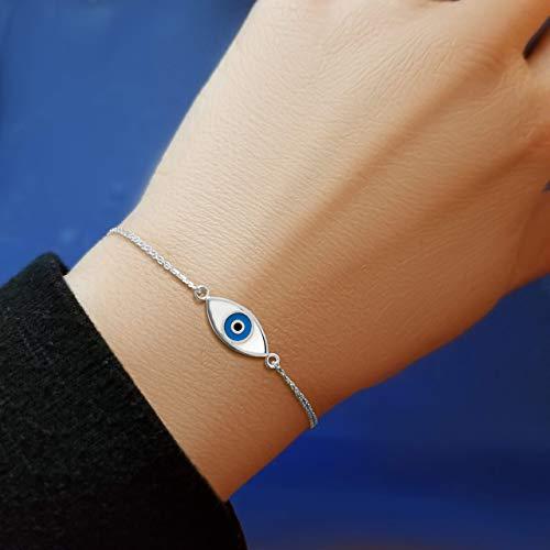 Evil Eye Sterling Silver White and Blue Bracelet