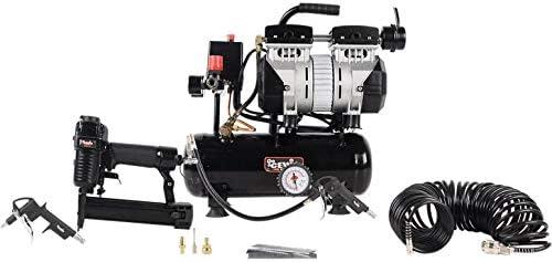 Cevik CA-CS6PROKIT Compresor 6 litros silencioso 3/4hp sin Aceite con clavadora Grapadora neumática, Grapas, 1000 Clavos, Pistola de soplar y Manguera