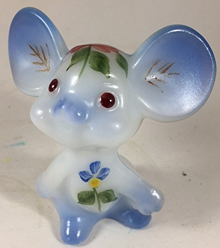 Fenton Glass Figurines - Fenton Art Glass Mouse - Hand Painted & Airbrushed - American Made (Blue)