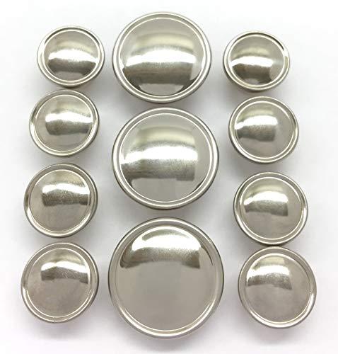 - MetalBlazerButtons.com Brand - SEMI-Dome Rimmed - [Polished Silver Finish] (11-Button | Single Breasted) Metal Blazer Button Set - 7/8
