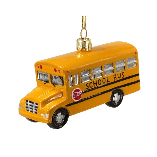 Noble Gems Kurt Adler 4-Inch Glass School Bus Ornament