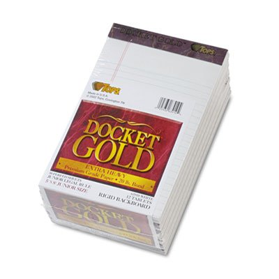 Docket Gold Perforated Pad, Legal Rule, 5 x 8, White, 12 50-Sheet Pads/Pack, Sold as 12 Pad