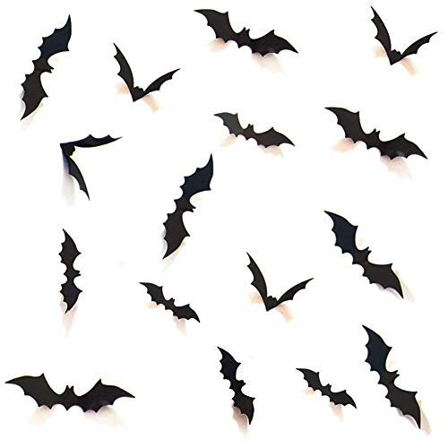 (Decorative 3D Bats Wall Stickers, Halloween Party Supplies DIY Decal Wall Stickers Halloween Eve Decor Home Window Decorations Set,)