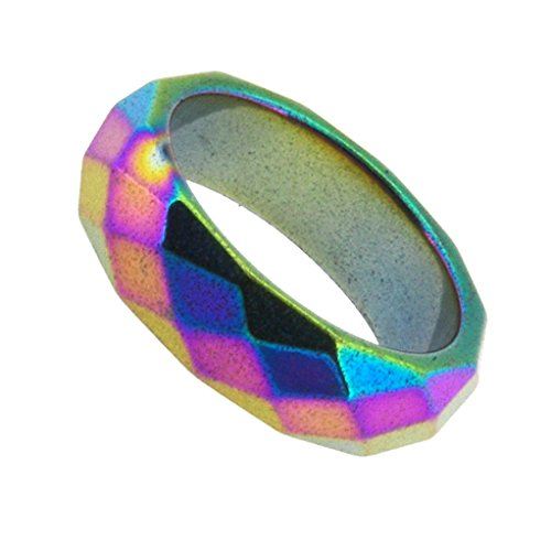 Unisex 6mm Rainbow Faceted Magnetic Simulated Hematite Stone Healing Band Toe Finger Ring (5.75) (Hematite Promise Ring)