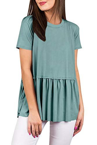 Women Cute Peplum Hem Summer Cotton T Shirt Loose Pleated Casual Short Sleeve Flare Tunic Top Turquoise 2XL