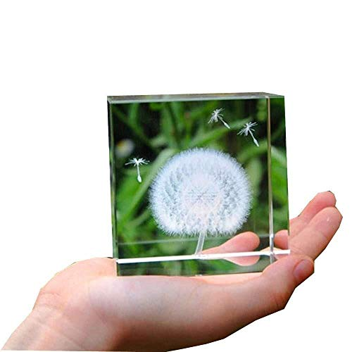 Fghjih Crystals Glass Ball Dandelion 3D Plant Processing Crystal Sculpture Crystal Craft Crystal Decoration Crafts