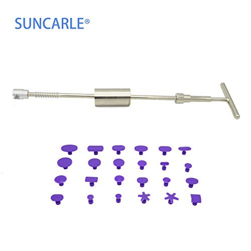 [Pdr Tool] SUNCARLE® PDR with 25PCS Paintless Dent Removal Repair Tools Kits Puller Black Dent Lifter Slide Hammer Different Size Purple Tabs