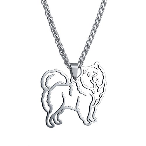 Stainless Steel Stainless Steel Samoyed Sammy Smiley Bjelkier Silhouette Pet Dog Tag Breed Collar Charm Pendant Necklace ()