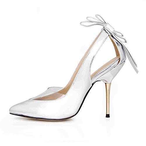 Silver Pumps COLOURS Prom Pointy Shoes Dolphin Sandals Dress Fashion Women Stilettos SM00049 Wedding Party MULTI Bowtie 4ZWWpU0