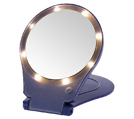 Floxite 5x Magnifying 360 Degree Lighted Home & Travel Mirror - Purple