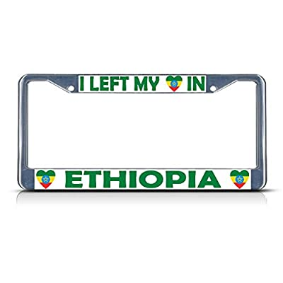 I Left My Heart in Ethiopia Flag Metal License Plate Frame Tag Border Two Holes Perfect for Men Women Car garadge Decor
