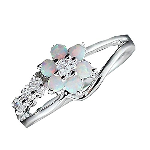 - Lethez Women Rings, Plum Blossom Opal Rhinestone Diamond Crystal Ring Wedding Engagement Band Rings Jewelry (White, 9)