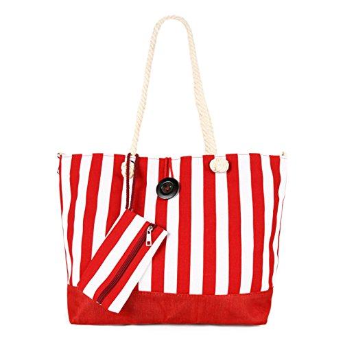 (Large Lightweight Striped Canvas Tote Shoulder Bag Handbag w/ Pouch, Red)