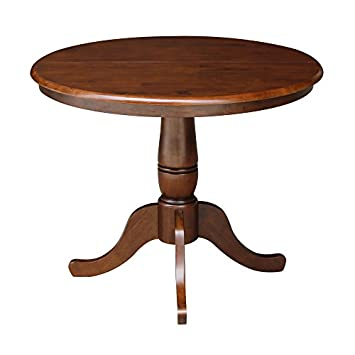 International Concepts Standard Height 36-Inch Round Extension Table with 12-Inch Leaf, Espresso