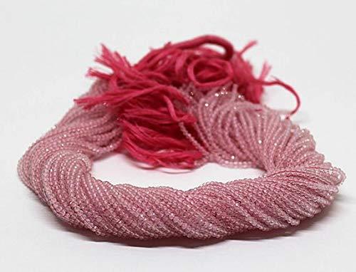 Rose Quartz Facet Rondelle Beads - GemAbyss Beads Gemstone AAA + 10 Strands 2mm-2.5mm Rose Quartz Micro Faceted Beads Stone Facet Tiny Rond 13 inch Strands Code-MVG-2267