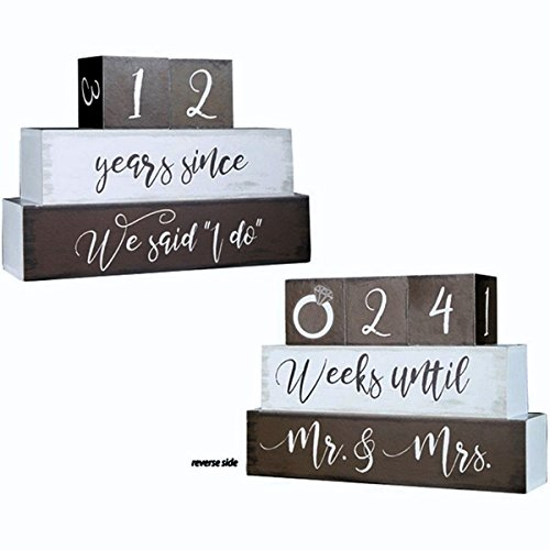 Carson Home Wedding and Anniversary Reversable Bridal Countdown Table Block Sign, Brown, 9 Inch
