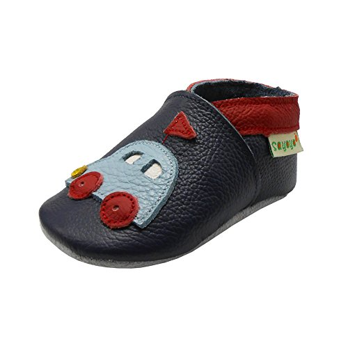 Sayoyo Baby Car Shoes Soft Leather Sole Infant Toddler Prewalker Shoes (12-18 months, Navy Blue)