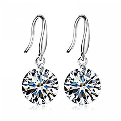 Merdia 925 Sterling Silver Earings Dangle Shiny Cubic Zirconia Studs Hypoallergenic for Girls for Women