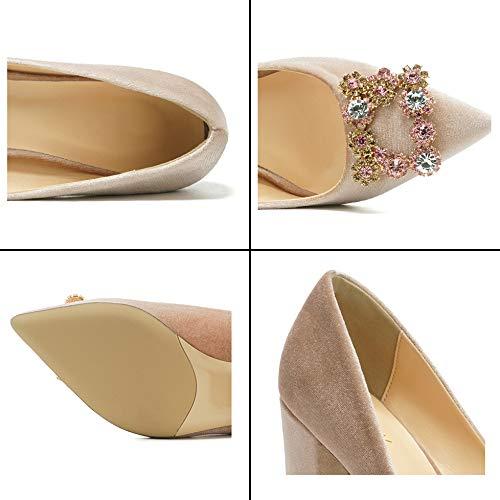 Talons 7cm Bloc Talon Strass Court Daim Talon Pointu Pink 9cm décoration Vamp 9cm en Chaussures 446 Orteils Orteil Femmes A786qw