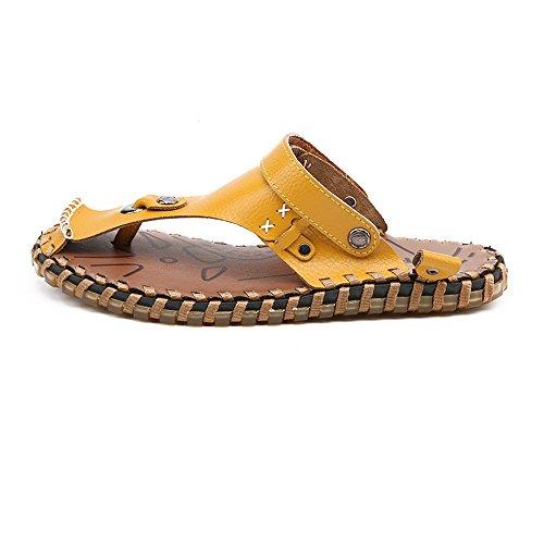 Sandalias Ocasionales Genuino Los Planas Aire Respaldo Zapatos La Cuero Caminar Yellow Suaves De Al Para Hombres Playa Sandalias Libre Sin 2018 Caminando w0Bqvv