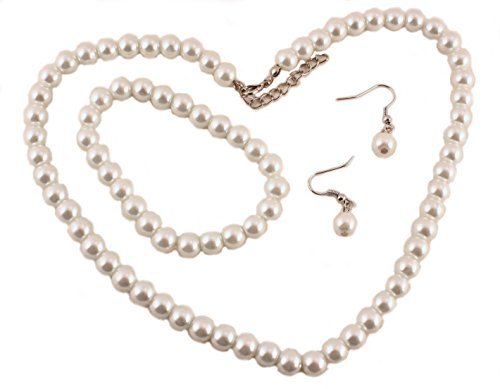 Pearl Necklace, Bracelet, & Earrings - Bridal, Wedding, Classic Imitation Pearls (Womens Ivory Necklace)