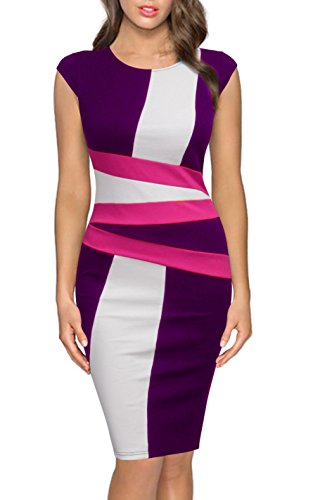 Elegant Round to Dress Work Purple Party Wear Women FORTRIC Neck Sleeveless Pencil pOqInFxUH