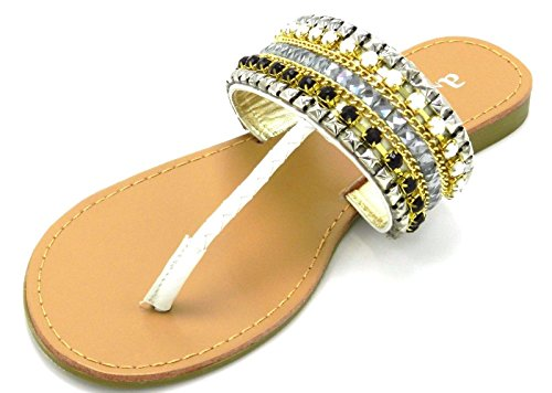 Womans Multicolore Strass Perline Gladiator Infradito Slip On Sandalo Infradito Shoes White-1