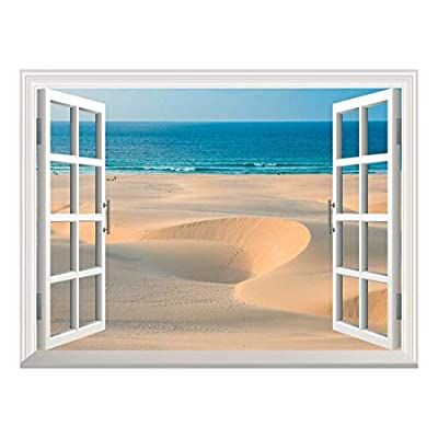 Removable Wall Sticker/Wall Mural - Sand Dunes in Chaves Beach Praia De Chaves in Boavista Cape Verde | Creative Window View Home Decor/Wall Decor - 36
