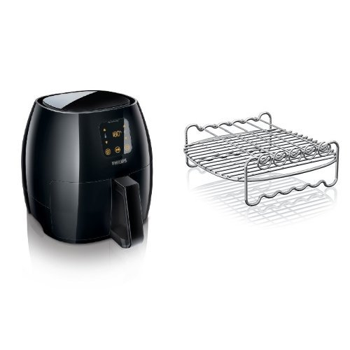 Philips Digital Airfryer, X-Large, the original Airfryer with Rapid Air Technology,  Black, HD9240/94 and Philips HD9905/00 Airfryer Double Layer Rack with Skewers for Avance, X-Large, Silver Bundle