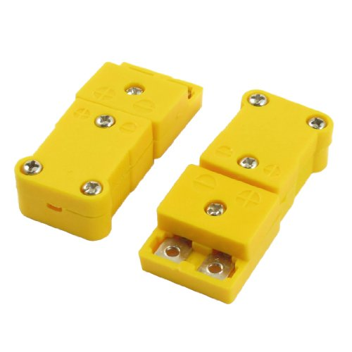 uxcell 2 Pcs Yellow SMPW-K-M/F K Type Thermocouple Wire Connector