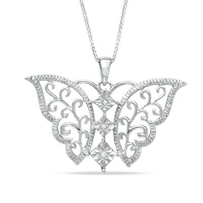 .05 cttw Diamond Butterfly 925 Sterling Silver Pendant Lavari