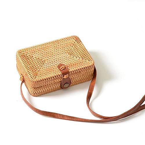 Straw Bags for Women Beach Handmade Woven Purse Handbag Shoulder Bag (190x130x65mm)