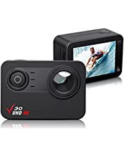 Action Camera, 4K 30FPS Ultra HD Waterproof Camera, 170° Wide Angle PC Webcam WiFi Sports Camera EIS Stabilization,100FT Waterproof,2'' Touch Screen, 1350mAh Batteries and Mounting Accessories Kit