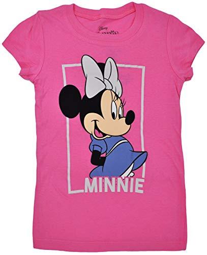 Disney Girls T-Shirt Minnie Mouse Glitter Graphic Print (Small, Dark Pink) ()