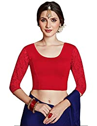 CRAZYBACHAT Crazy Bachat Women's Readymade Indian Designer 3/4 net Stretchable Blouse for Saree Crop Top