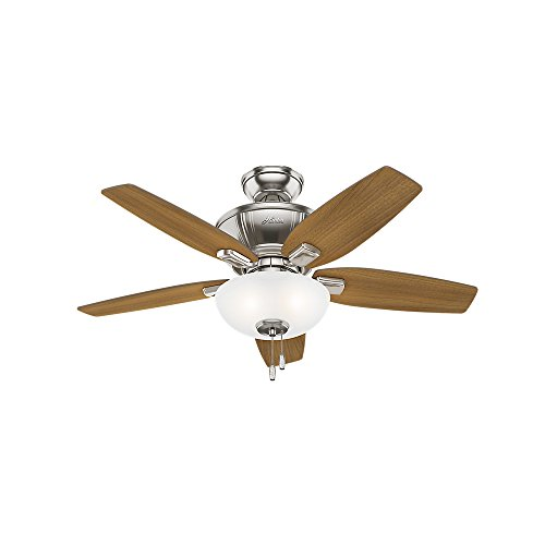 Hunter Indoor Ceiling Fan with LED Light and pull chain control – Kenbridge 42 inch, Brushed Nickel, 51102