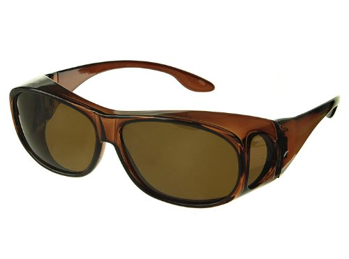 LensCovers Wear Over Sunglasses Size Medium Brown Frames with Brown Lens - Fit Over ()