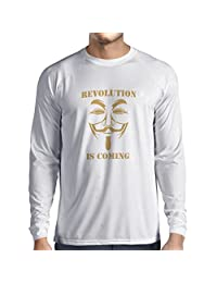 Long sleeve t shirt men The Revolution Is Coming - the Anonymous hackers mask (X-Large White Gold)