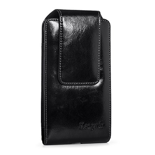 Belt Loop Carrying Case (iPhone 7 Plus Belt Case,Hengwin Vertical Oil Wax Leather Carrying Case Belt Loop Holster Pouch Wallet Case Smart phone Holster Phone Holder with Magnetic Closure for LG G4 G5 G6 Samsung S8 Plus-Black)