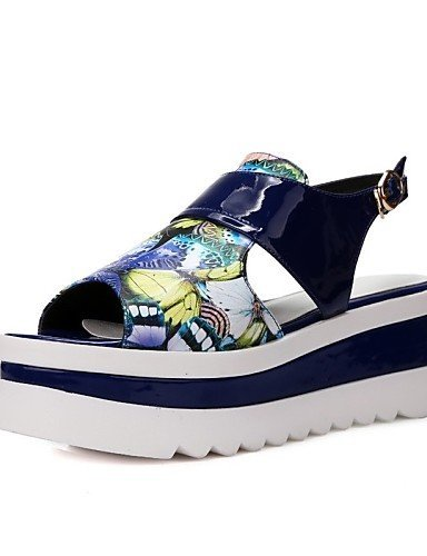 ShangYi Women's Shoes Nappa Leather Flat Heel Wedges / Peep Toe / Open Toe Sandals Outdoor / Athletic / Casual Blue / Pink Blue 55eQNRo