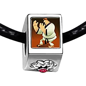 Chicforest Silver Plated Olympics Judoist practise Judo Photo Red Zircon Crystal July Birthstone Flower Charm Beads Fits Pandora Charms