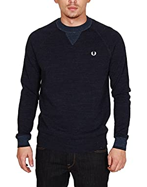 Mens Navy Marl Budding Yarn Tipped Sweatshirt