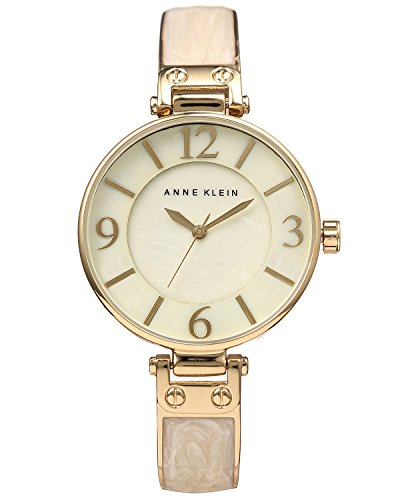 Gold Tone Ivory Dial - Anne Klein Women's AK/2210IMGB Gold-Tone and Ivory Marbleized Bangle Watch