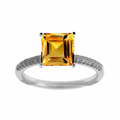 Citrine Tdw Ring Diamond - Platinum 1/7ct TDW Diamond Engagement Ring With 1ct Citrine Square Center (G, SI1-VS2)