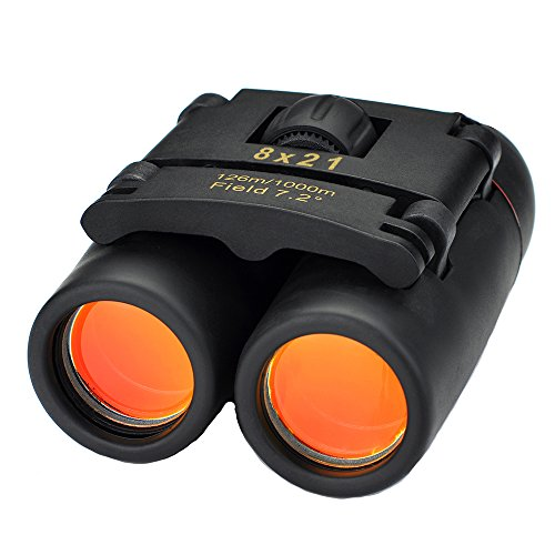 Primacc 8 x 21 Compact Binoculars Folding Telescope with Clean Cloth and Carry Case for Bird Watching, Traveling, Outdoors, Sight Seeing, Climbing