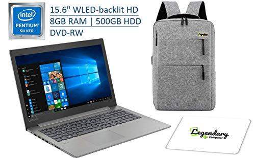 "Lenovo 15.6"" HD Premium Laptop, Intel Pentium Silver N5000 Quad-Core (Beat Intel i3-7100U), 8GB DDR4, 500GB HDD, DVD-RW, Wireless-AC, Windows 10 W/ Legendary Computer Backpack & Mouse Pad Bundle"