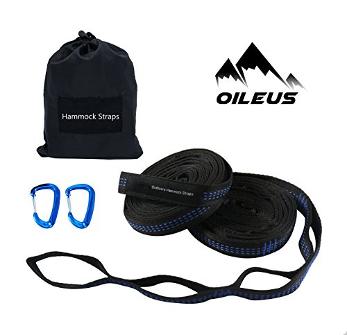 OILEUS Hammock straps (11ft strpas with 20 loops+Aluminum Carabiners) by OILEUS