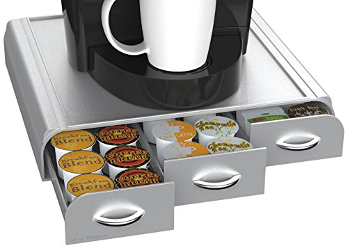 Mind Reader 36 Capacity K-Cup, Dolce Gusto, CBTL, Verismo, Single Serve Coffee Pod Holder Drawer, Silver (Coffee Tray Container)